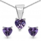 Mobile Preview: Amethyst-Herzen-SET 4-teilig Sterling Silber-1,00 Karat