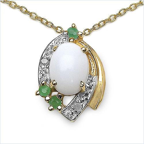schmuck schmidt 24 collier kette m opal smaragd anh nger silber vergoldet 10cts. Black Bedroom Furniture Sets. Home Design Ideas