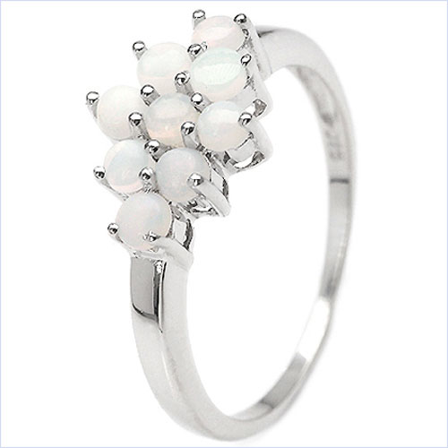 schmuck schmidt 24 wei er opal ring 9 edelsteine 925 sterling silb rhodin. Black Bedroom Furniture Sets. Home Design Ideas