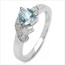 B-Ware-Diamant-Blue Topas-Ring- 925 Sterling Silber Rhodiniert