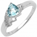 Diamant-Blue Topas-Ring- 925 Sterling Silber Rhodiniert