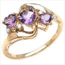 Diamant/Amethyst Ring 0,99 Karat in 416er Gold-10Karat