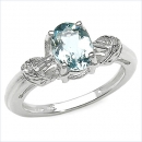 Aquamarin/White-Topas-Ring-925 Sterling Silber 1,12 Karat